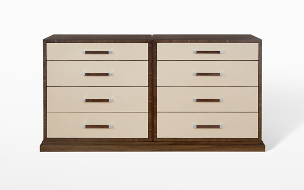 Custom Leather and Walnut Dresser