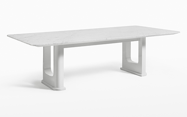 Rift Dining Table in Carrara Marble