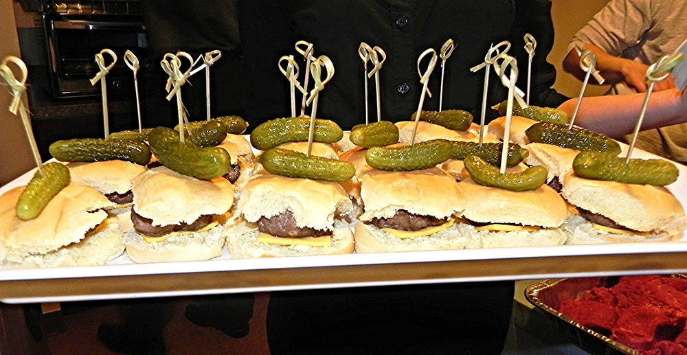 Mini Sliders Topped with Mini Pickles