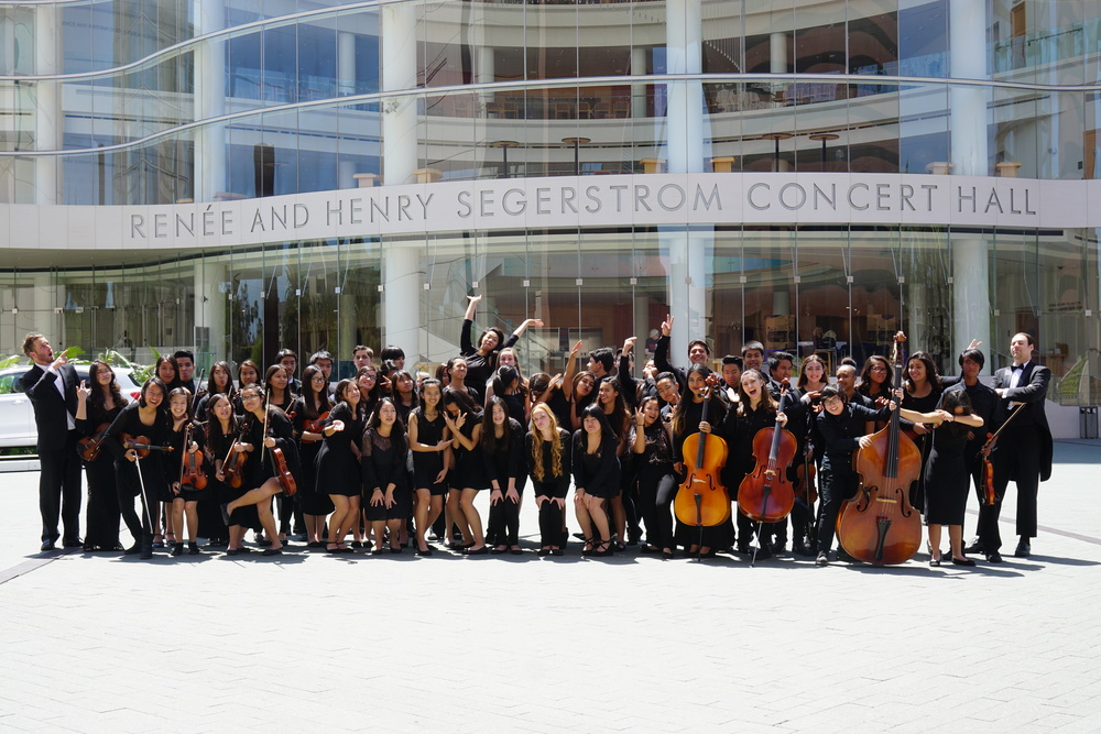 Rival schools - having fun together in front of this stunningly beautiful concert hall
