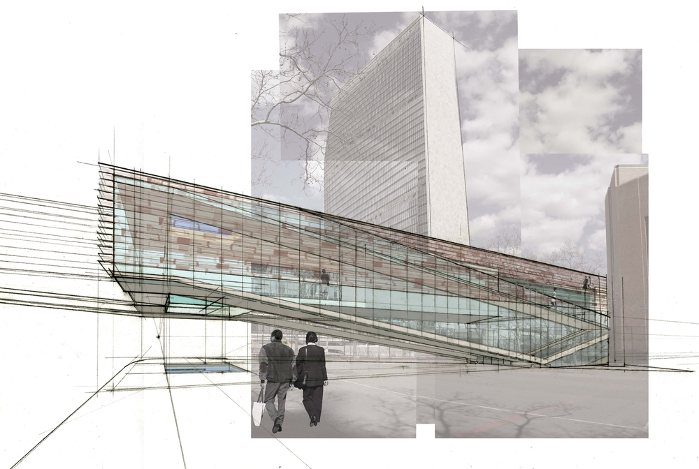 Rendering for East River Ferry Terminal Proposal, NYC, 2008