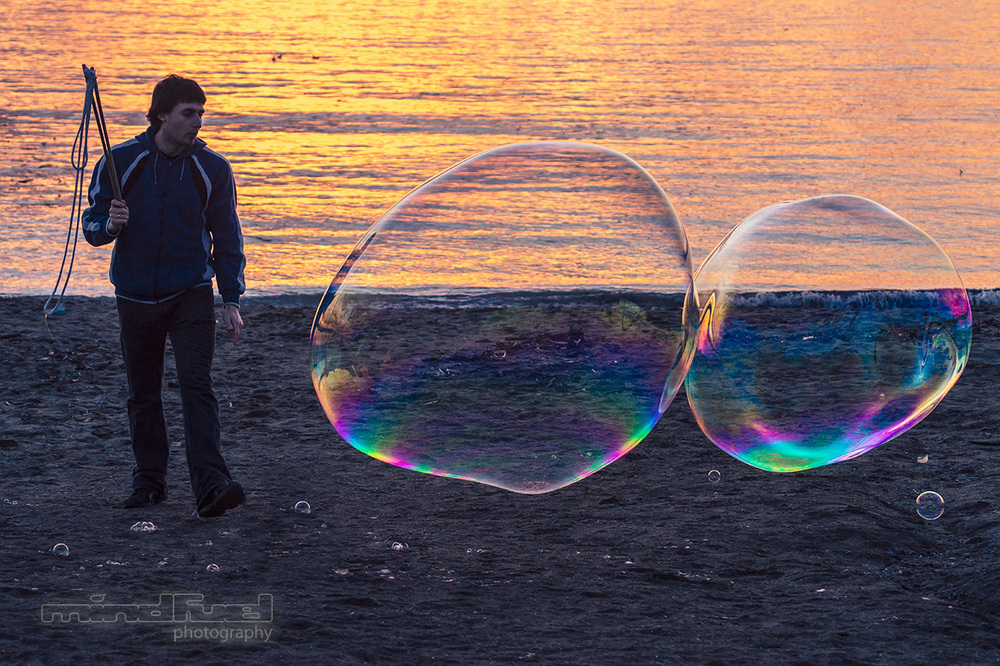 Giant bubbles at English Bay