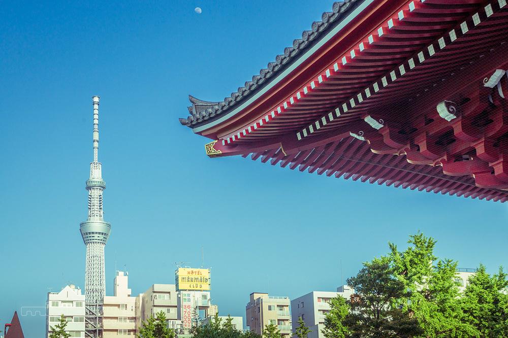 Skytree, moon and temple