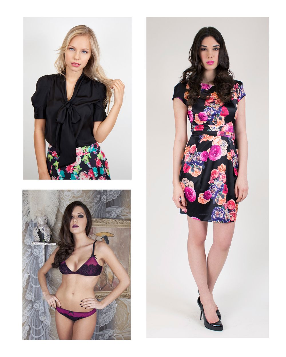 From left to right, bow front blouse by Whistle & Wolf £45, russian floral dress by Whistle & Wolf £55 and Margarita red wine bra by Playful Promises £23