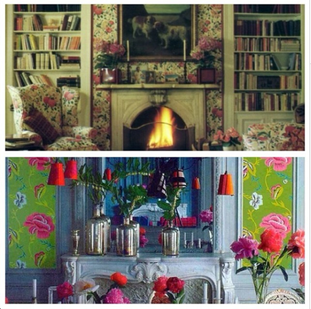 Vintage and modern rose themed interiors