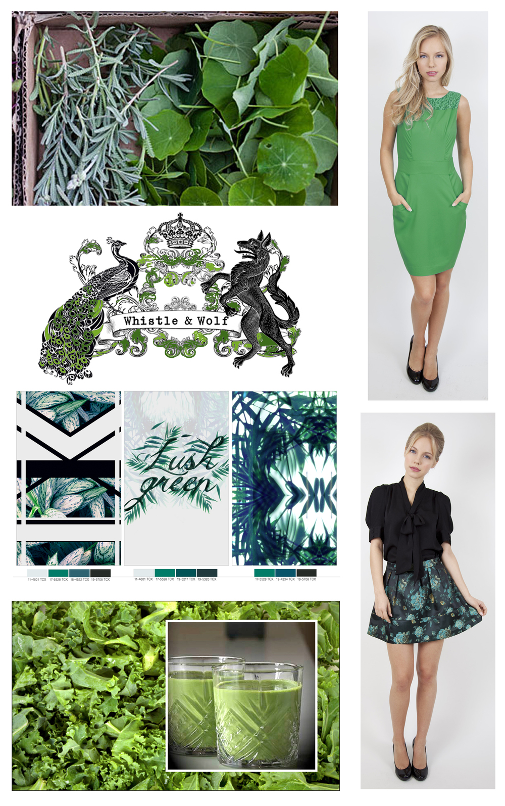 bottom left-ways with Kale, ideas from Emerald Street about the country's favourite greens. Top right, fitted dress with big pockets £50  Whistle & Wolf , bottom right green floral brocade skirt £45  Whistle & Wolf