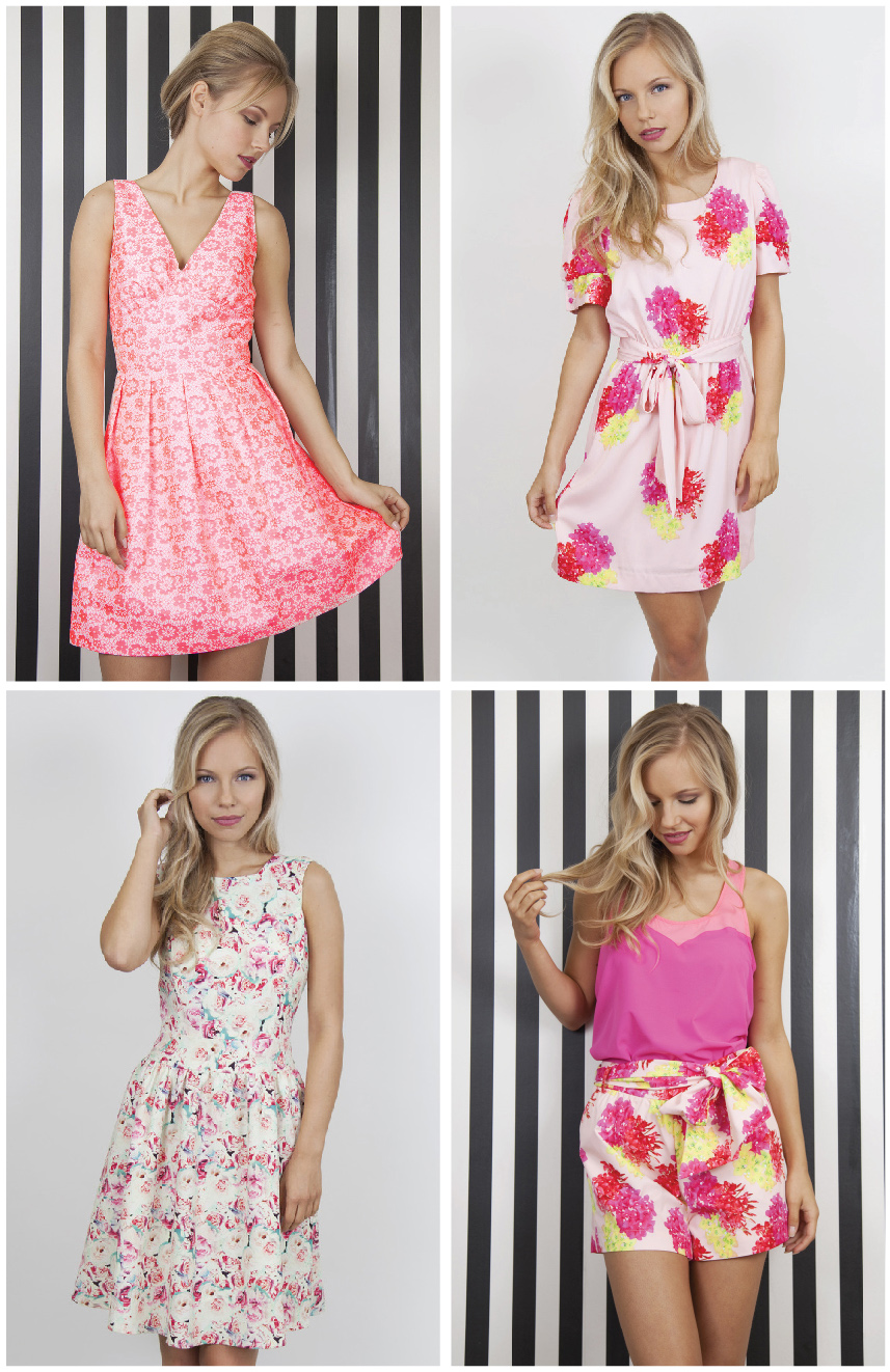 Whistle & Wolf  Neon Pink Cotton Dress ,  Tropical Print Dress ,  Shattered Rose Prom Dress ,  Trapeze top  and  Tropical print shorts.