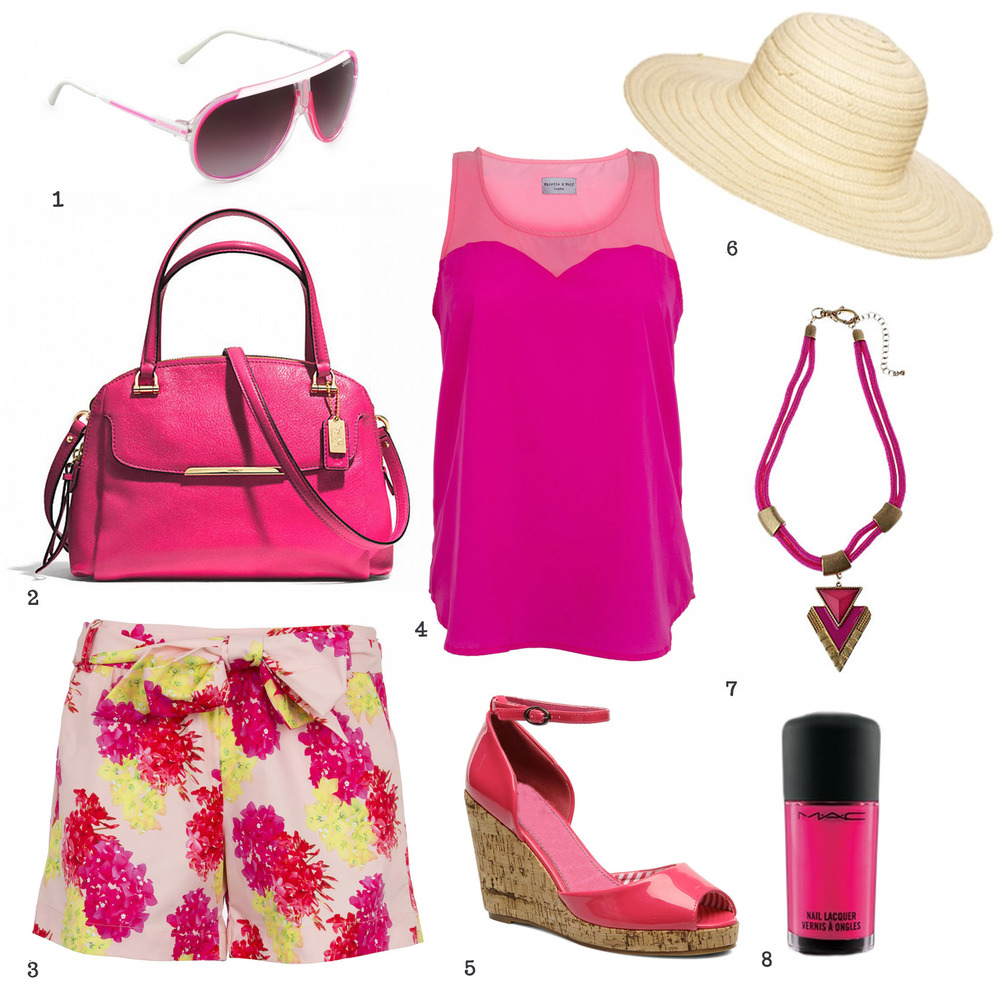 1. Carrera sunglasses 2. Coach handbag 3. Whistle & Wolf tropical print tailored shorts 4. Whistle & Wolf pink trapeze top 5. Refresh wedges 6. ASOS straw floppy hat 7. Adele Marie Necklace at John Lewis 8. Mac nail polish in steamy