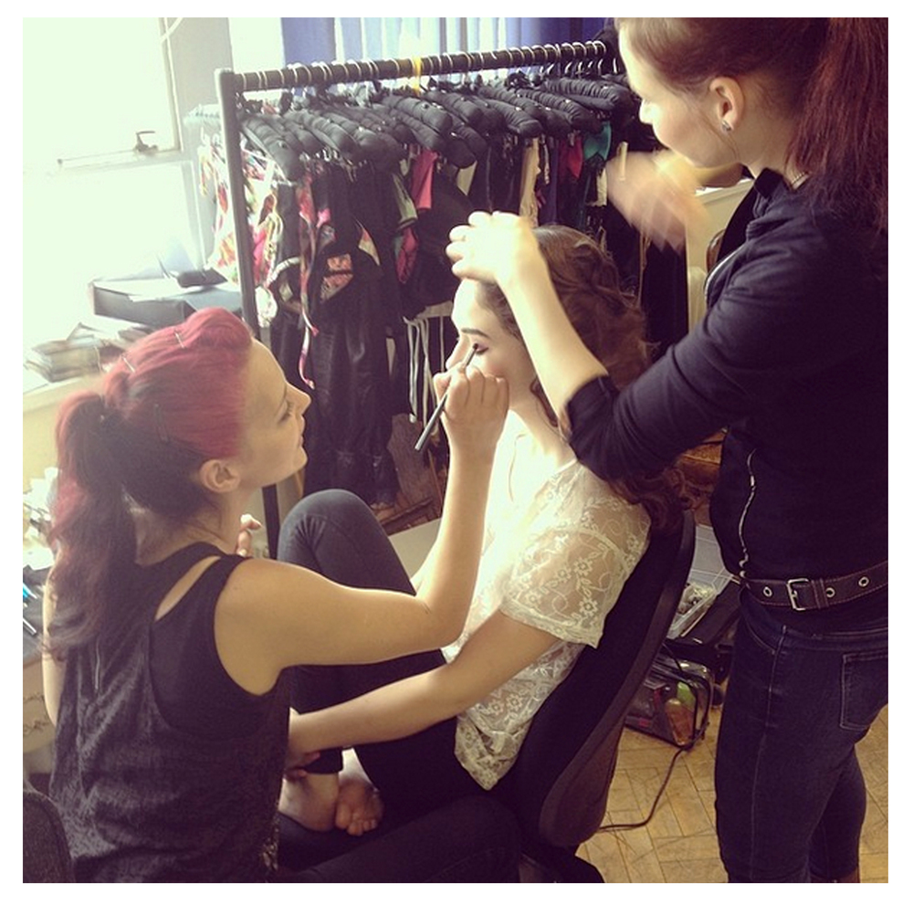 One of our models Becca, having her makeup done by Cheyenne.