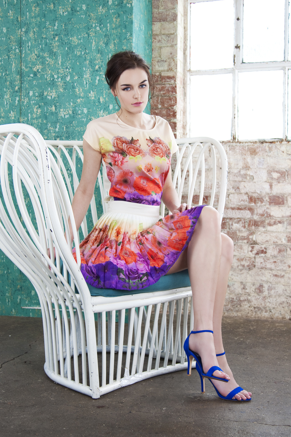 Floral placement prints and pleats