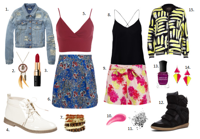1.     Denim Jacket - Rock 'n' Roll at   Scotch & Soda  , £66, 2. Long Owl and Leaf Feather Dreamcatcher Necklace at   Claire's Accessories  , £7, 3. Bobbi Brown 'Crazy for Color' Lip Color Candied Red at   Nordstrom  , £16, 4. Even&Odd Ankle boots at   Zalando.co.uk  , £29, 5. Waffle Bra Top at   Miss Selfridge  , £18, 6. Blossom Print Skirt at   Whistle & Wolf  , £45, 7. Bead And Metallic Bracelet Set at   Body Central  , £4.81 8. Vero Moda Folly Singlet at   Nelly  , £14, 9. Tropical Floral Tailored Shorts at   Whistle & Wolf  , £55, 10. Urban Decay Lip Junkie Lip Gloss, Trashed 0.34 fl oz at   Beauty.com  , $5, 11. Glitter Pot in Space Cowboy at   Topshop  , £4, 12. Isabel Marant Bekett Calfskin Velvet Leather Sneakers at   Forwardforward.com  , £420, 13. Deborah Lippmann Nail Lacquer - Glitter at   Sephora  , £12, 14. Triangle Neon Earrings at   Hugssy  , $10, 15.   Yellow art print bomber jacket   at   River Island  , £30