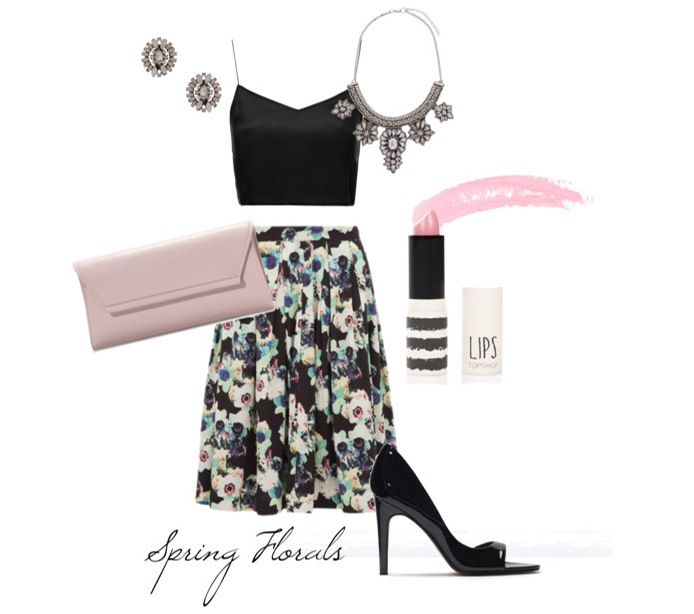 SHOP THE LOOK:  Wolf & Whistle Skirt, Bralet Topshop, Clutch Zara, Necklace Miss Selfridge, Ear-rings Miss Selfridge, Lipstick Topshop, Heels Zara