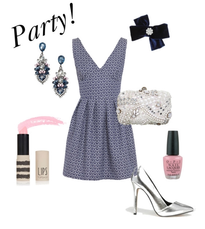 SHOP THE LOOK:    Wolf and Whistle Dress ,  Miss Selfridge Clutch Bag ,  Asos Pointed Heels ,  H&M Ear-Rings ,  Miss Selfridge Navy Bow ,  O.P.I Nail Varnish ,  Topshop Lipstick