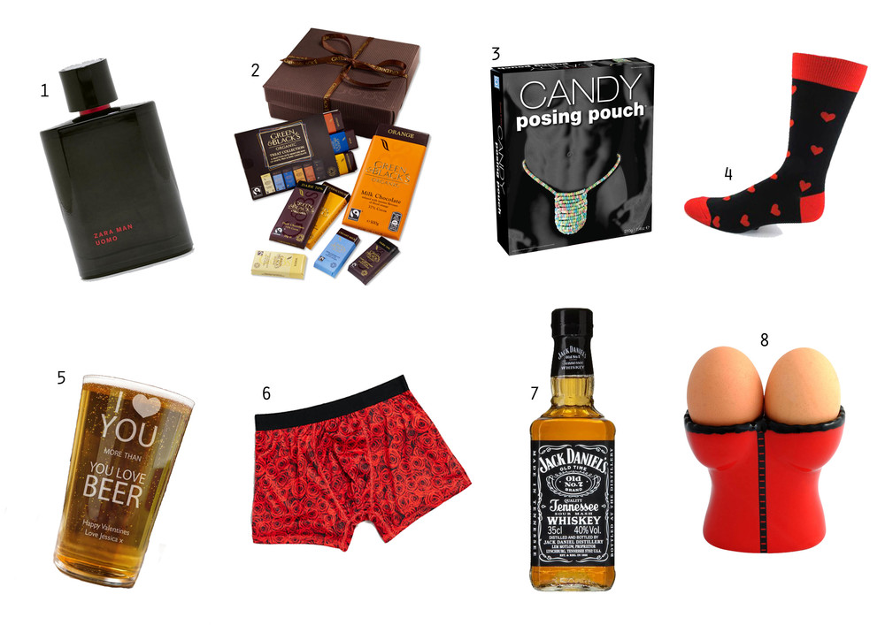 SHOP THE GIFTS:    1 Aftershave ,  2 Chocolates ,  3 Candy Posing Pouch ,  4 Socks ,  5 Personalised Beer Glass ,  6 Boxers ,  7 Alcohol ,  8 Double EEgg Cups