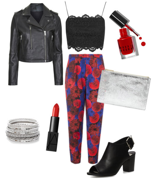SHOP THE LOOK    Wolf and Whistle Floral Trousers ,  Topshop Lace Bralet ,  Topshop Leather Biker Jacket ,  Dorothy Perkins Heeled Boots ,  Whistles Clutch ,  New Look Silver Bracelets ,  Bobbi Brown Nail Varnish ,  Nars Lipstick