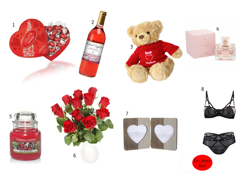 SHOP THE GIFTS:   1  Lindt Chocolates ,  2 Personalised Rose Wine ,  3 Personalised Teddy ,  4 Victoria Beckham Perfume ,  5 Yankee Candle ,  6 Flowers ,  7 Photo Frame , 8 Underwear Set  Bra  &  Pants