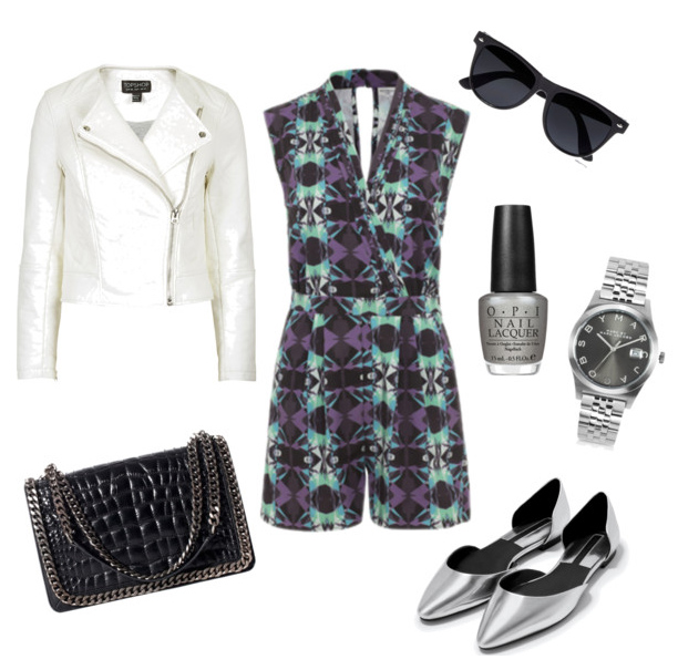 SHOP THE LOOK:   Wolf & Whistle Playsuit ,  White Leather Jacket ,  Shoulder Bag ,  Pointed Pumps ,  Nail Varnish ,  Watch ,  Sunglasses