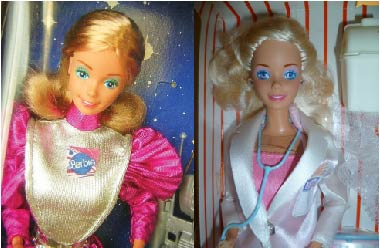 Astronaut and doctor Barbie images from Pintrest.