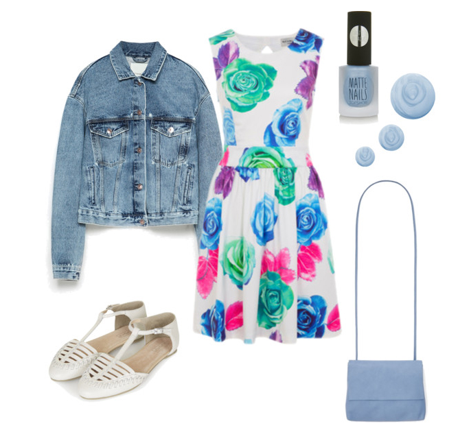 SHOP THE LOOK:   Wolf and Whistle Dress ,  Denim Jacket ,  Sandals ,  Bag  and  Nail Varnish .