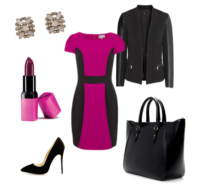 SHOP THE LOOK Wolf and Whistle Dress, Shoes, Jacket, Bag, Earrings and Lipstick.