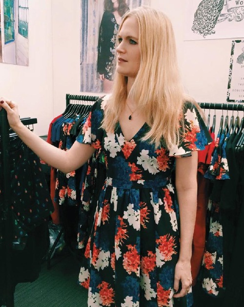 The calm before the storm! Louise wears Wolf & Whistle Winter Floral Print Dress.