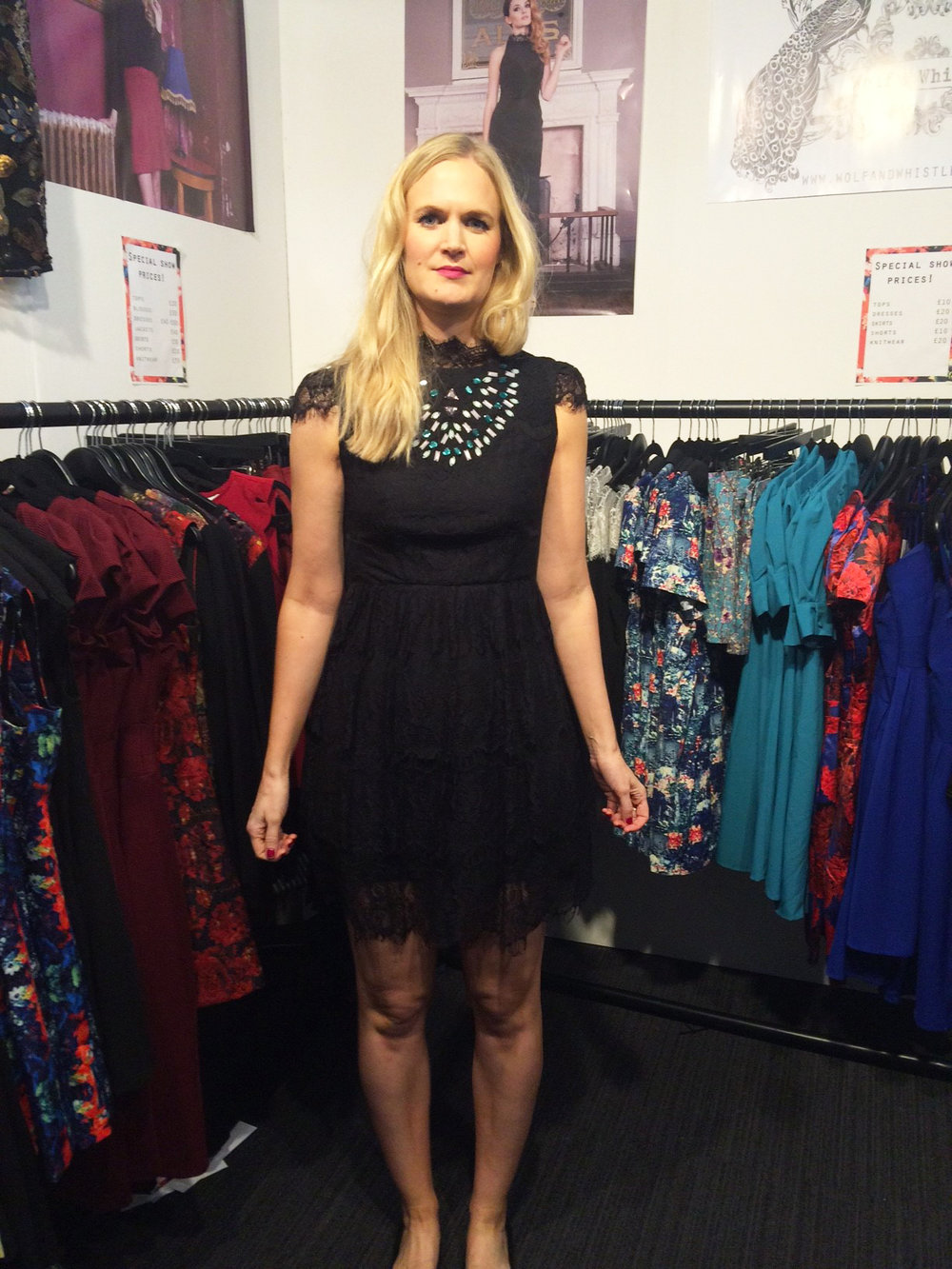 Designer Louise wears the  Beaded Eyelash Lace Dress , which you can now win in our  Halloween Giveaway !!