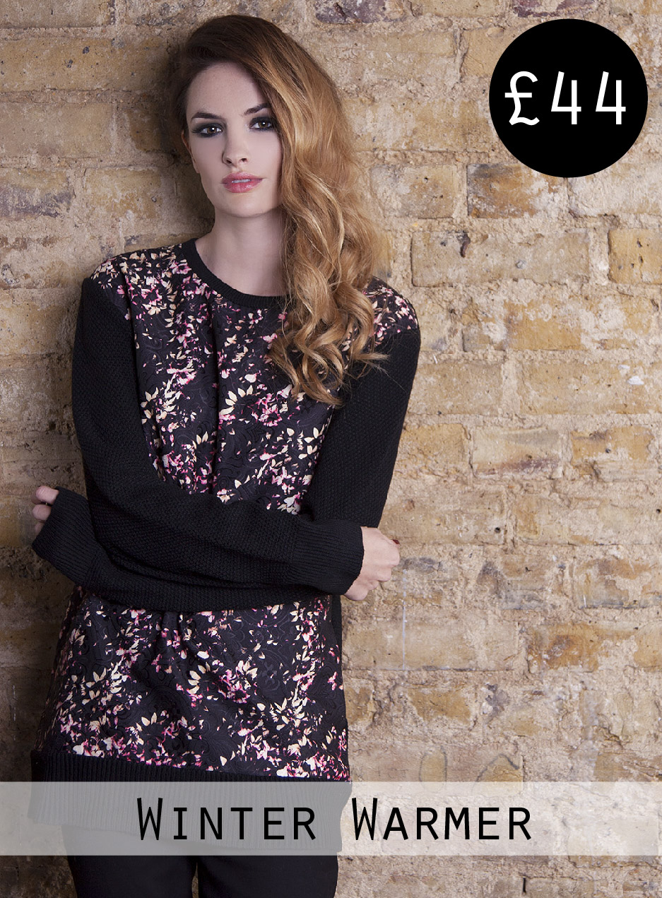 blossom print winter jumper