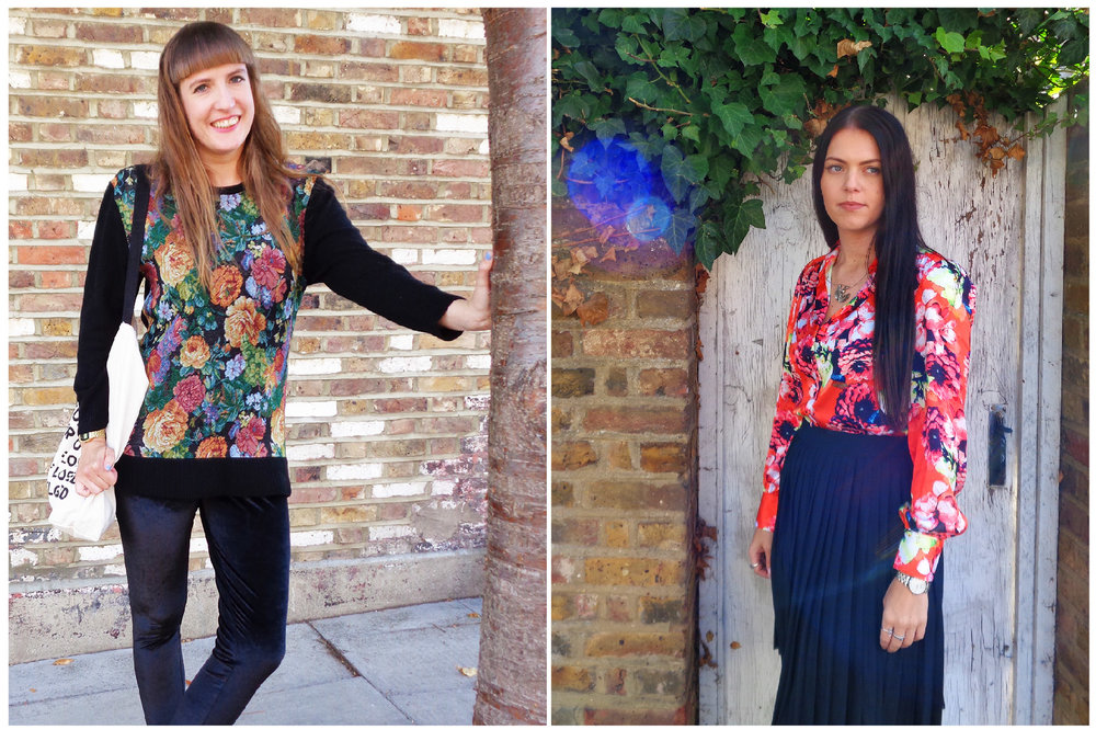 Hanna wears our  Tapestry Jumper . Rebecca wears our  Orange Floral Blouse  and  Pleated Skirt.