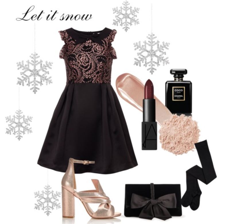Wear our Rose Gold Lace and Black Satin Dress  with Miss Selfridge Sandals and Ann Taylor Clutch