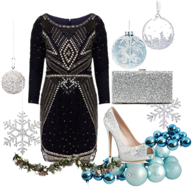 Wear our  Navy and Silver Sequin Dress  with  Sole Society Clutch bag  and heels from  Unique Vintage .