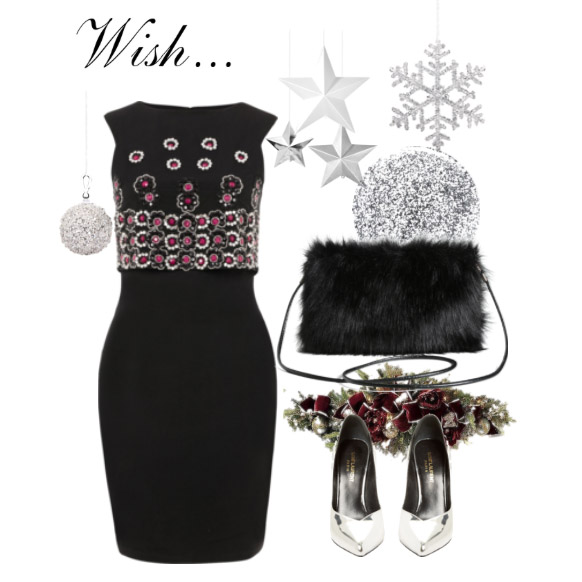 Wear our  beaded dres s with a  faux fur clutch  and  silver heels .