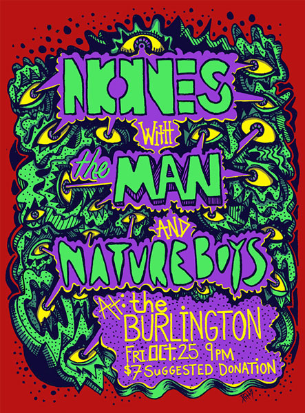Flyer for NONES//THE MAN//NATURE BOYS at The Burlington, Chicago.