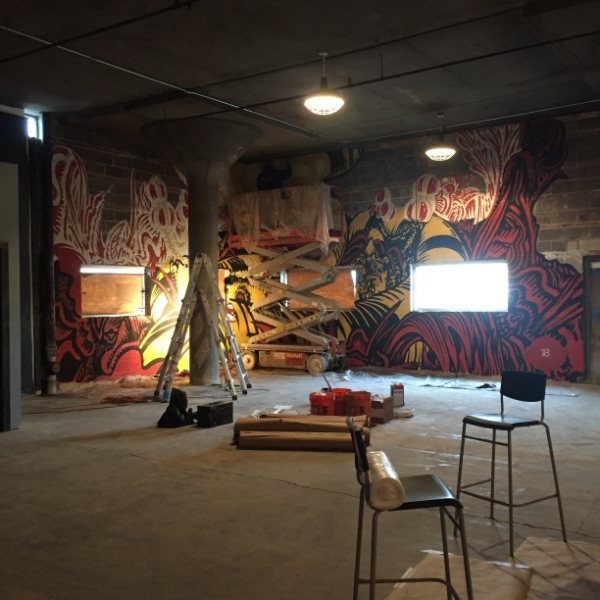 Showing progress on my 'CONTESSA' mural in the 18th Street Brewery Hammond brewpub.