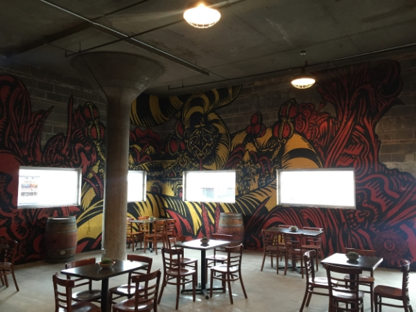 Showing my 'CONTESSA' mural in the 18th Street Brewery Hammond brewpub.