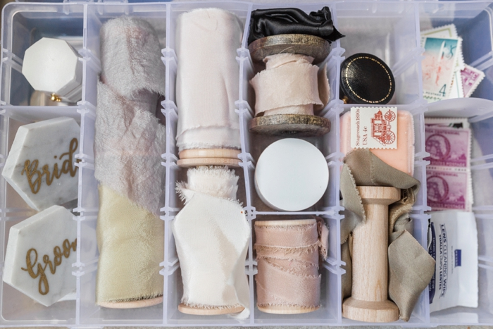 styling bag kit camera ribbons bride and groom stamps | Ashley Holstein Photography.jpg