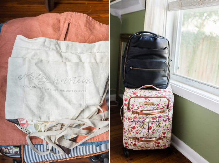 styling kit with apron and pillowcases inside bag camera | Ashley Holstein Photography.jpg