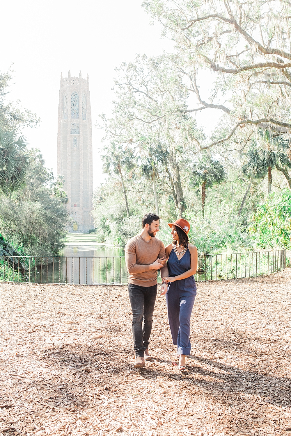 Janiece + Chris | The Sweetest Bok Tower Gardens Engagement Session | garden in florida film session | FL Fine Art Photographer