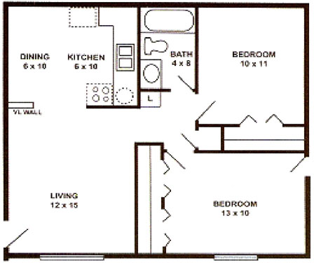 2 bedroom 1 bath apartments. paris floor plan 1 jpg Apartments in Saginaw  Paris Place Features Rates