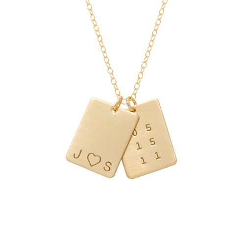 2 Rectangle Initials, Heart & Date Tag Necklace