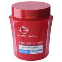 Connoisseurs Jewelry Cleaner for Sterling Silver can be found at most drugstores