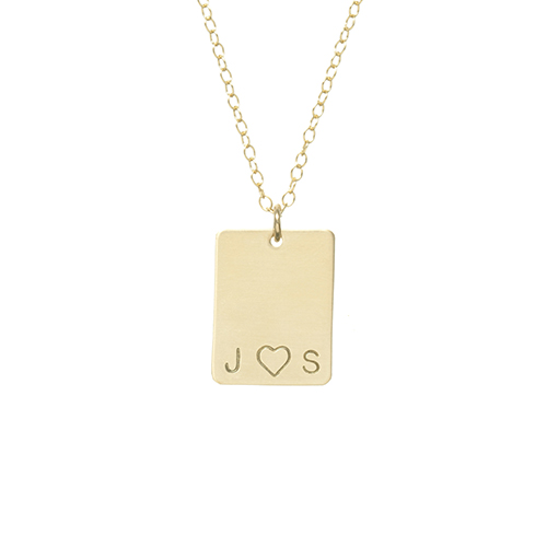 Rectangle Initial and Heart Necklace