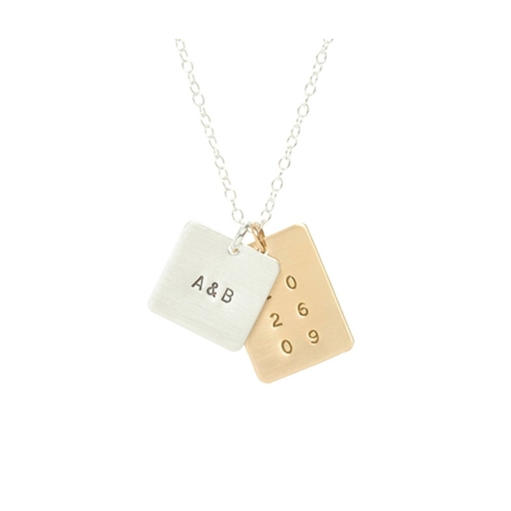 Square and Rectangle Initial and Date Necklace