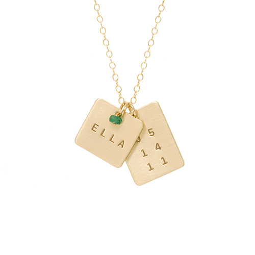 Square Name and Rectangle Date Necklace