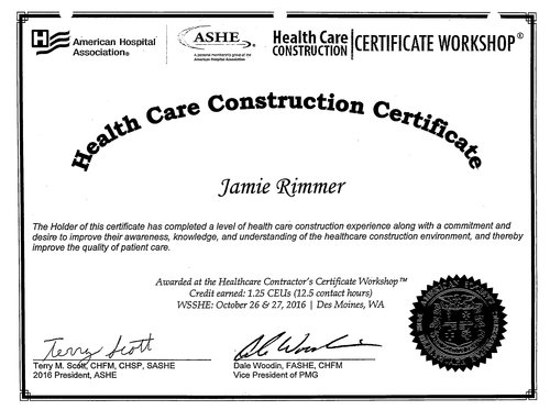 Certifications — Rimmer & Roeter Construction, Inc.