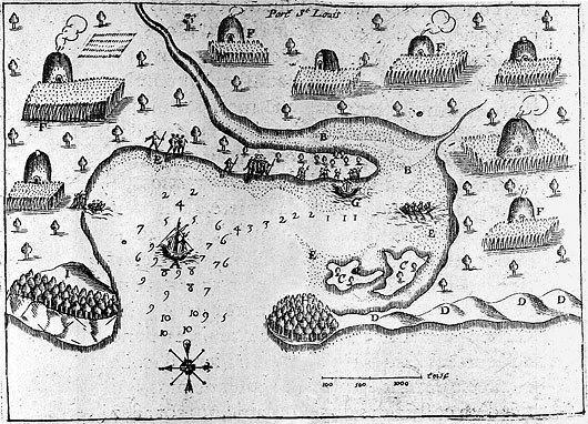 Map drawn by Samuel de Champlain of Plymouth Harbor in 1605 showing native habitations (PD-US)