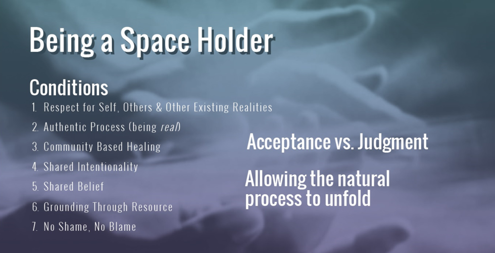 Example slide used to discuss what it means to be a space holder and how holding space supports the healing process