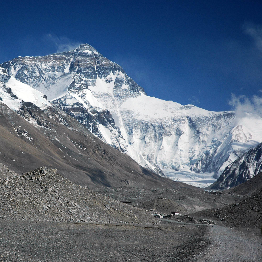 staring at the summit of everest. public domain.