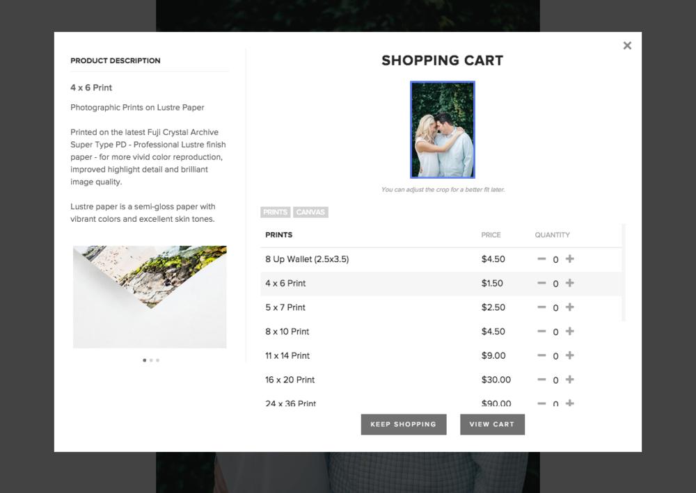 A screenshot from Pixieset's shopping cart feature.