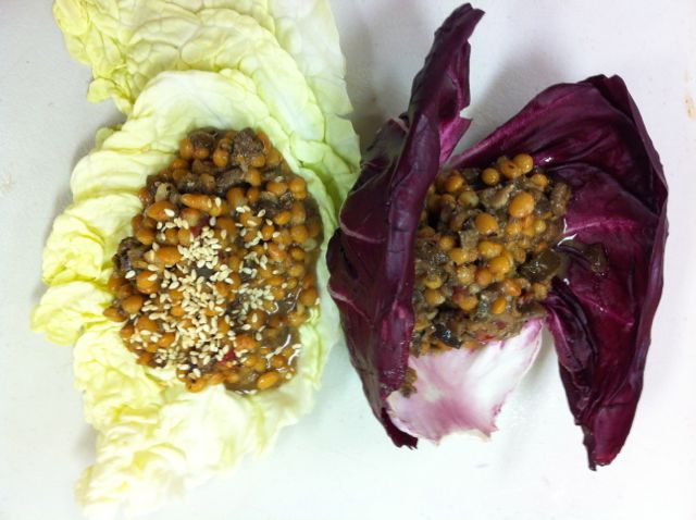 Lentils & tapanade on cabbage leaves