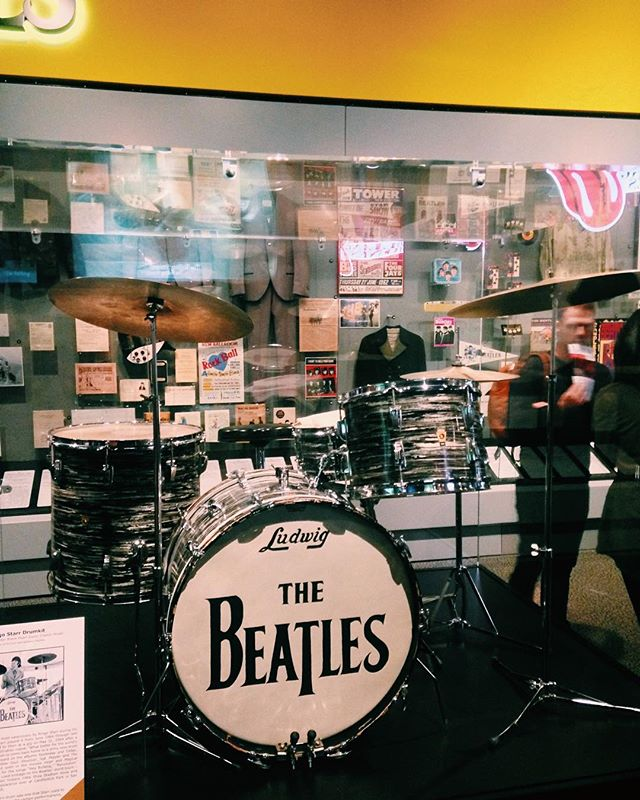 A quick stop at The Rock n' Roll Hall of Fame. This is THE kit Ringo used between 64-68, live and recorded. Now we sail onwards to Toledo, OH to play a Halloween show at Black Cloister Brewing. 8-10PM. #rocknrollhalloffame #tour